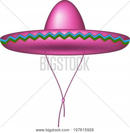 Sombrero hat in pink design on white background