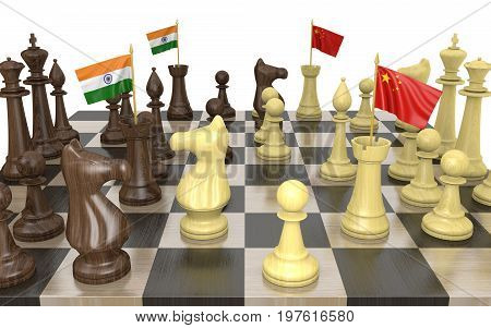 India and China foreign policy strategy and power struggle, 3D rendering