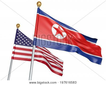 North Korea and United States flags flying together for important diplomatic talks, 3D rendering
