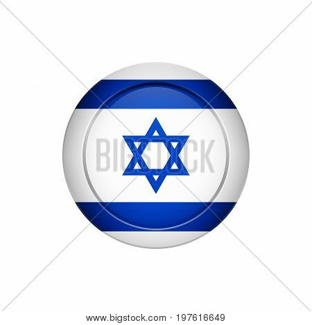 Israeli Flag On The Round Button, Vector Illustration