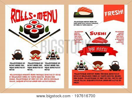 Sushi menu template for Japanese cuisine restaurant. Vector design of sushi roll, salmon fish guncan or miso and seafood noodle soup, eel maki and tuna sashimi with tempura shrimp prawn and chopsticks