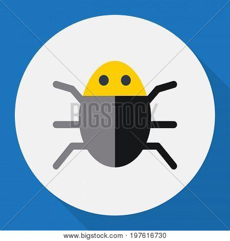 Vector Illustration Of Safety Symbol On Bug Flat Icon