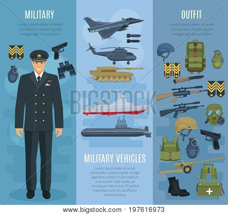 Military forces ammunition, vehicles and outfit banners. Vector weapon arms gun and rifle, military soldier uniform, armored jacket and helmet, wartime tank truck, ship boat, helicopter and submarine