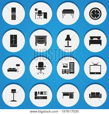 Set Of 16 Editable Furniture Icons. Includes Symbols Such As Ergonomic Seat, Trestle, Television And More