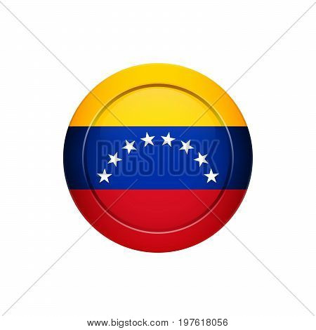 Venezuelan Flag On The Round Button, Vector Illustration