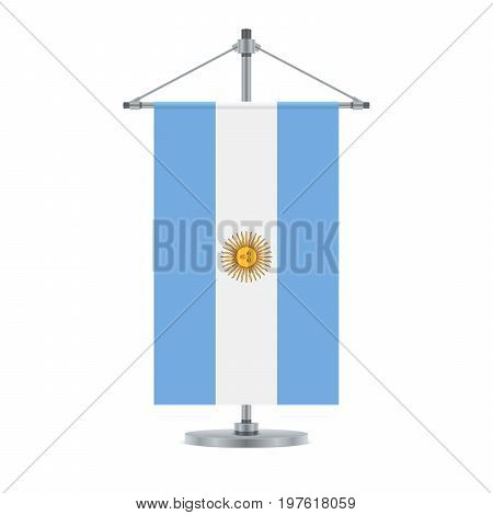 Argentinian Flag On The Metallic Cross Pole, Vector Illustration