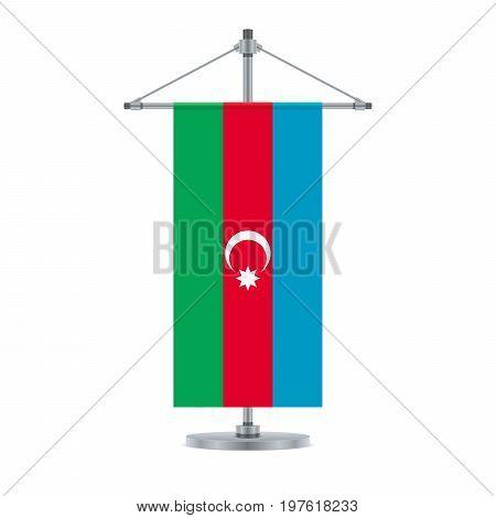 Azerbaijan Flag On The Metallic Cross Pole, Vector Illustration