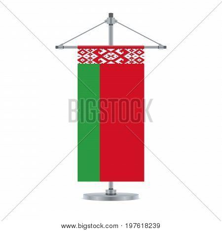 Belarus Flag On The Metallic Cross Pole, Vector Illustration