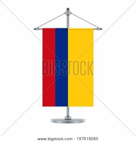 Colombian Flag On The Metallic Cross Pole, Vector Illustration