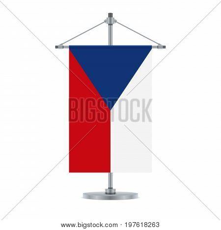 Czech Flag On The Metallic Cross Pole, Vector Illustration