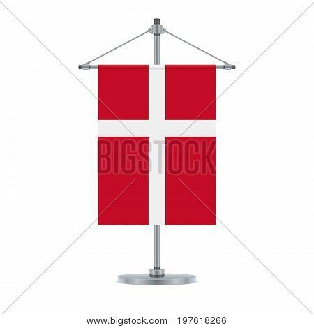 Danish Flag On The Metallic Cross Pole, Vector Illustration