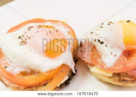 Bacon eggs tomato and cheese on a multigrain muffin