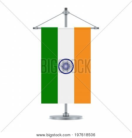 Indian Flag On The Metallic Cross Pole, Vector Illustration