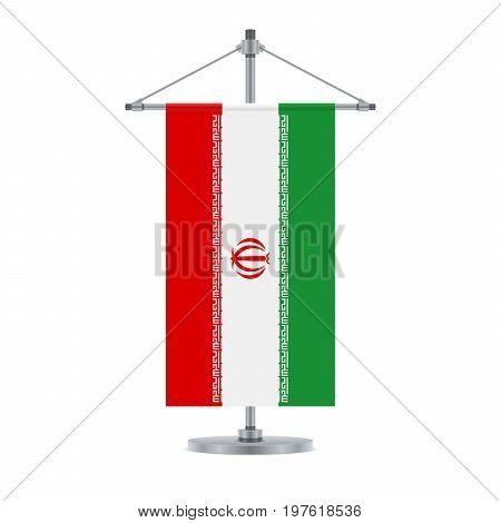 Iranian Flag On The Metallic Cross Pole, Vector Illustration