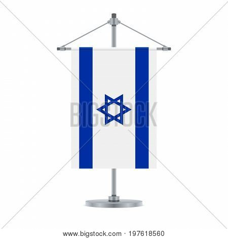Israeli Flag On The Metallic Cross Pole, Vector Illustration