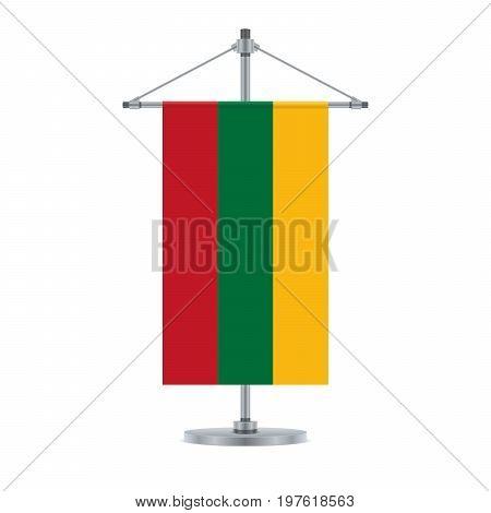 Lithuanian Flag On The Metallic Cross Pole, Vector Illustrationn