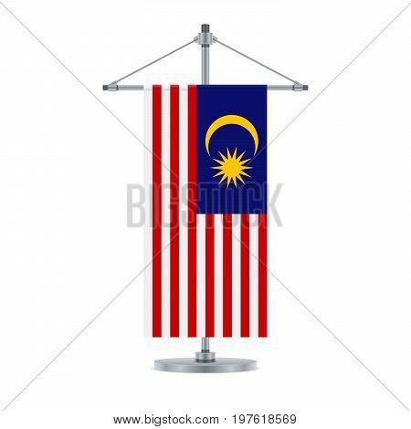 Malaysian Flag On The Metallic Cross Pole, Vector Illustration