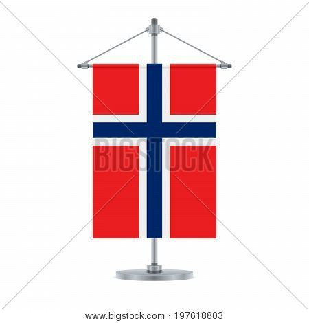 Norwegian Flag On The Metallic Cross Pole, Vector Illustration
