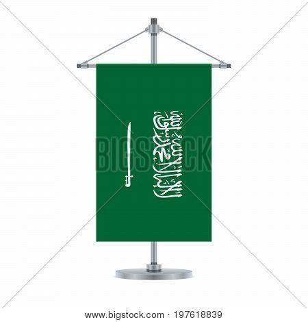 Saudi Arabian Flag On The Metallic Cross Pole, Vector Illustration