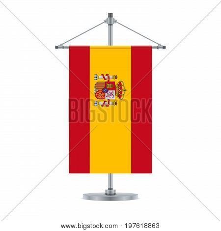 Spanish Flag On The Metallic Cross Pole, Vector Illustration