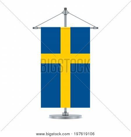 Swedish Flag On The Metallic Cross Pole, Vector Illustration