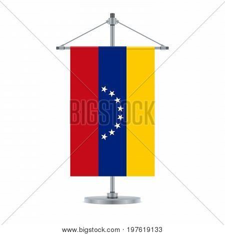 Venezuelan Flag On The Metallic Cross Pole, Vector Illustration