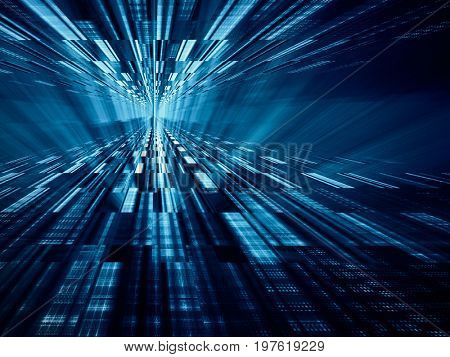 Abstract background element. Fractal graphics series. Perspective composition glitch effect. Information technology concept.