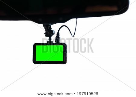 blank green screen display monitor car video camera on windscreen isolated white background