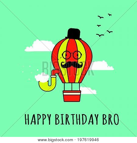 Cartoon hot air balloon card..A character balloon with a smoking pipe mustache hat and retro pince-nez..Greeting