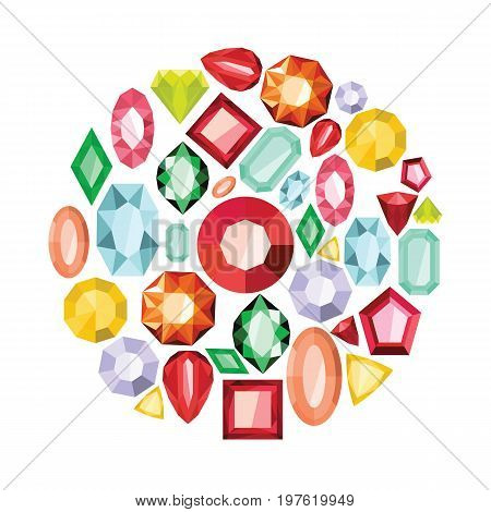 Jewels flat cartoon icons set. Jewels vector illustration for design and web isolated on white background.