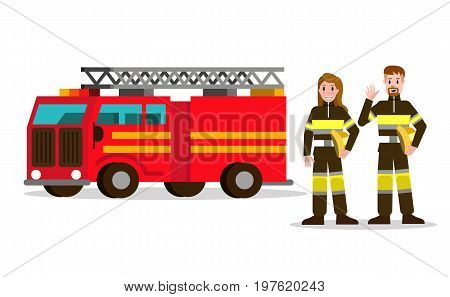 Fireman and fire woman on the background of the service car. flat Fireman character design. vector illustration