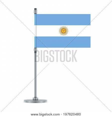 Argentinian Flag On The Metallic Pole, Vector Illustration