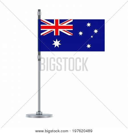 Australian Flag On The Metallic Pole, Vector Illustration