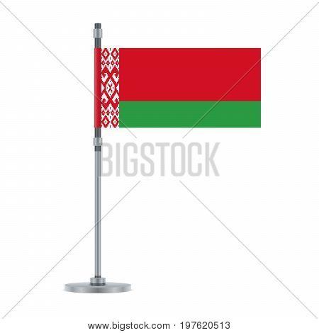 Belarus Flag On The Metallic Pole, Vector Illustration