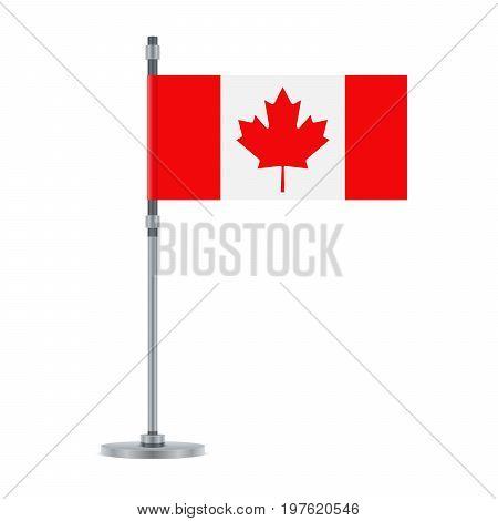 Canadian Flag On The Metallic Pole, Vector Illustration