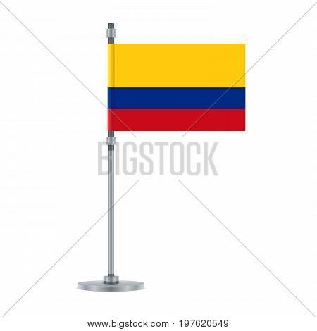 Colombian Flag On The Metallic Pole, Vector Illustration