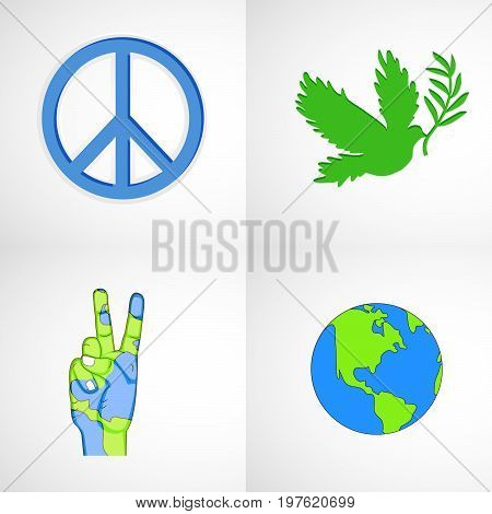 illustration of peace symbol, hand, finger, earth, pigeon, leaf on the occasion of International peace Day