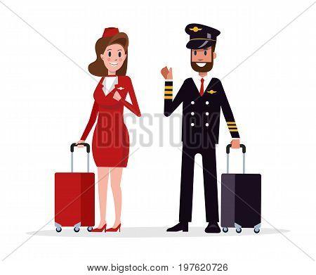 Airplane flight crew. Pilot capitan and flying attendants. flat character design vector illustration
