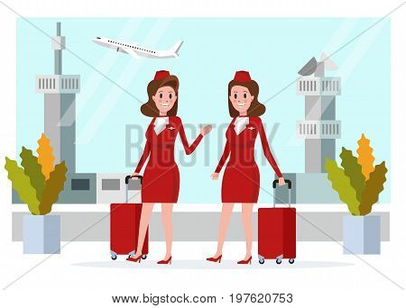 Couple Air hostess in red uniform walking and talking. flat character design vector illustration