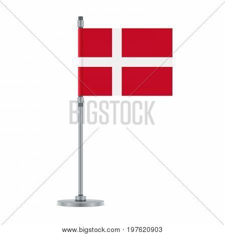 Danish Flag On The Metallic Pole, Vector Illustration