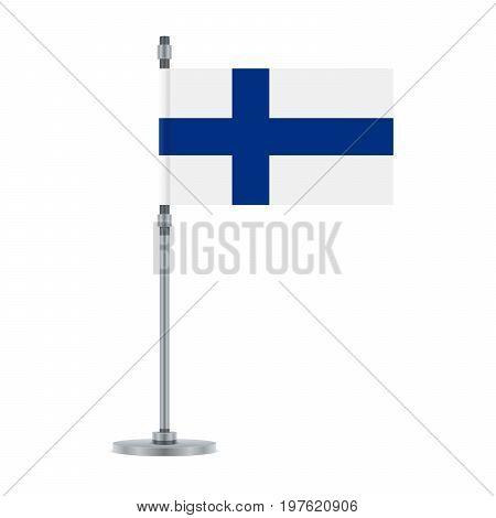 Finnish Flag On The Metallic Pole, Vector Illustration