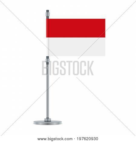Indonesian Flag On The Metallic Pole, Vector Illustration