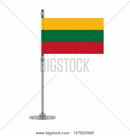 Lithuanian Flag On The Metallic Pole, Vector Illustrationn