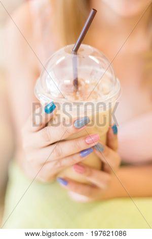 Beautiful Fingernail Manicure Acrylic Nail Polish, Woman Hand Hold Iced Coffee