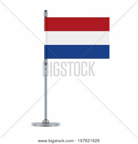 Dutch Flag On The Metallic Pole, Vector Illustration