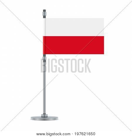 Polish Flag On The Metallic Pole, Vector Illustration