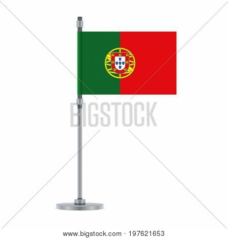 Portuguese Flag On The Metallic Pole, Vector Illustration