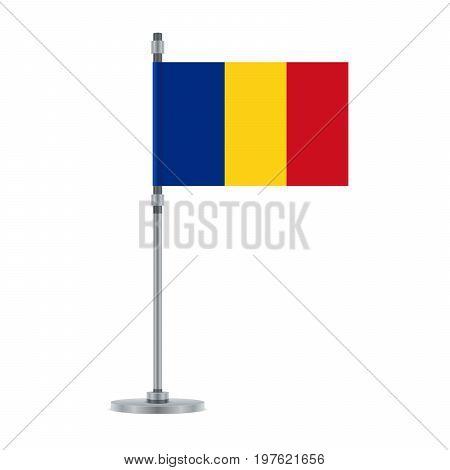 Romanian Flag On The Metallic Pole, Vector Illustration