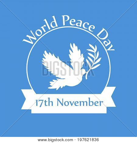illustration of Pigeon with World Peace Day 17th November text on the occasion of International Peace Day