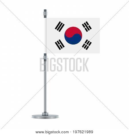 South Korean Flag On The Metallic Pole, Vector Illustration